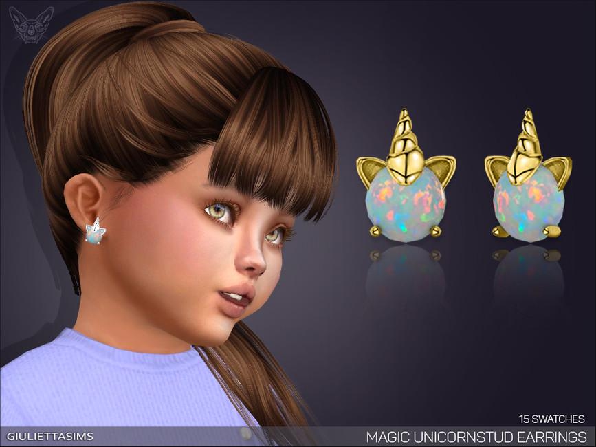 Серьги для тодлеров Magic Unicorn Stud Earrings For Toddlers Симс 4