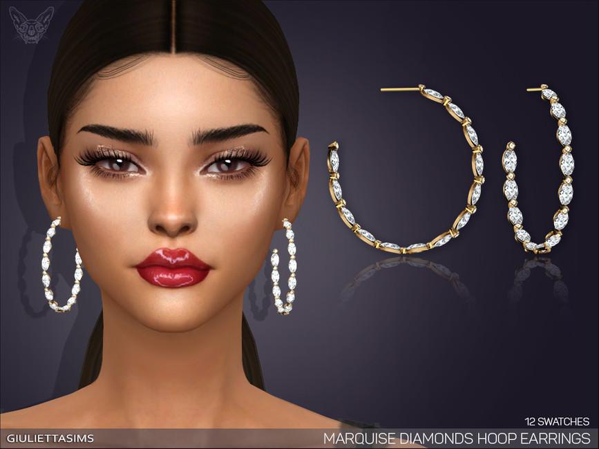 Серьги Marquise Diamond Hoop Earrings Симс 4