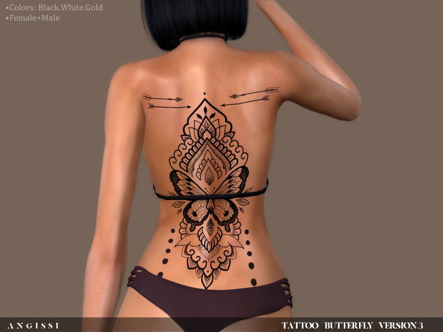 Татуировка на спине Симс 4