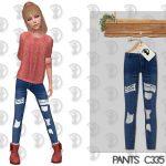 Джинсы для девочек Pants C335 Симс 4