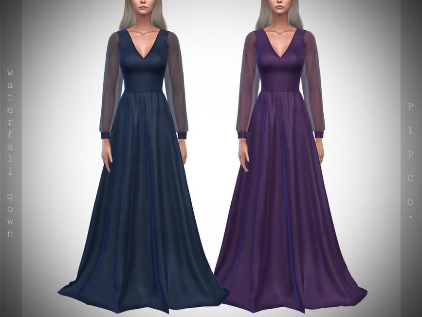 Моды платья в пол для Симс 4