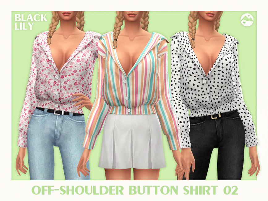 Мод женская рубашка Симс 4