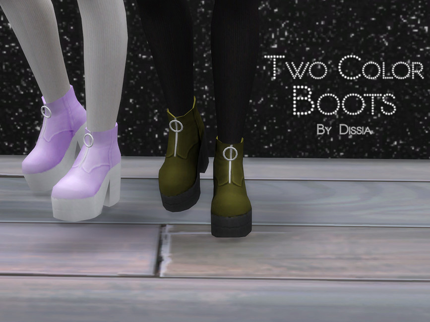 Обувь Two Color Boots Симс 4