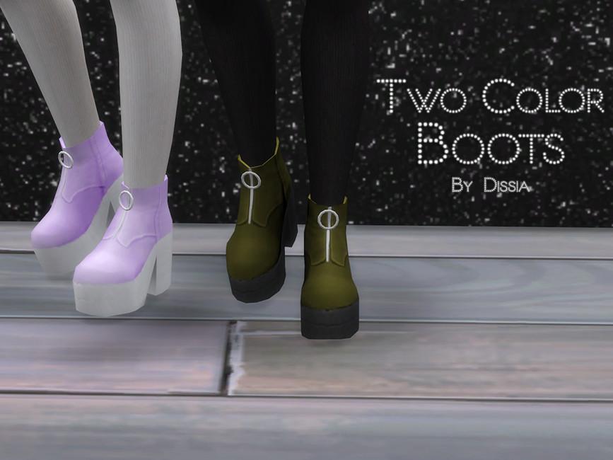 Обувь Two Color Boots Симс 4