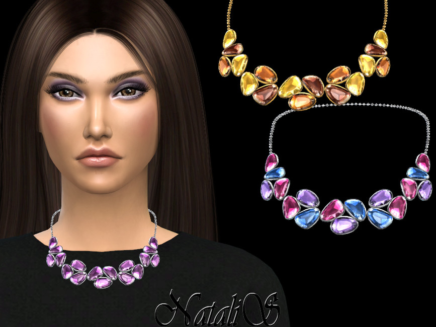 Ожерелье Mixed Color Gems Necklace v-2 Симс 4