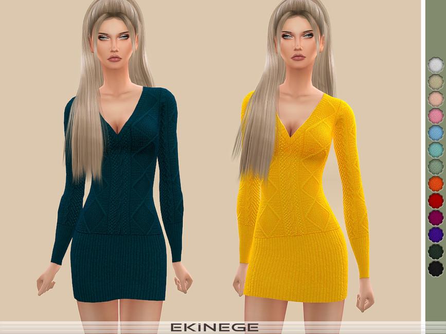 Платье Cable Knit Dress Симс 4