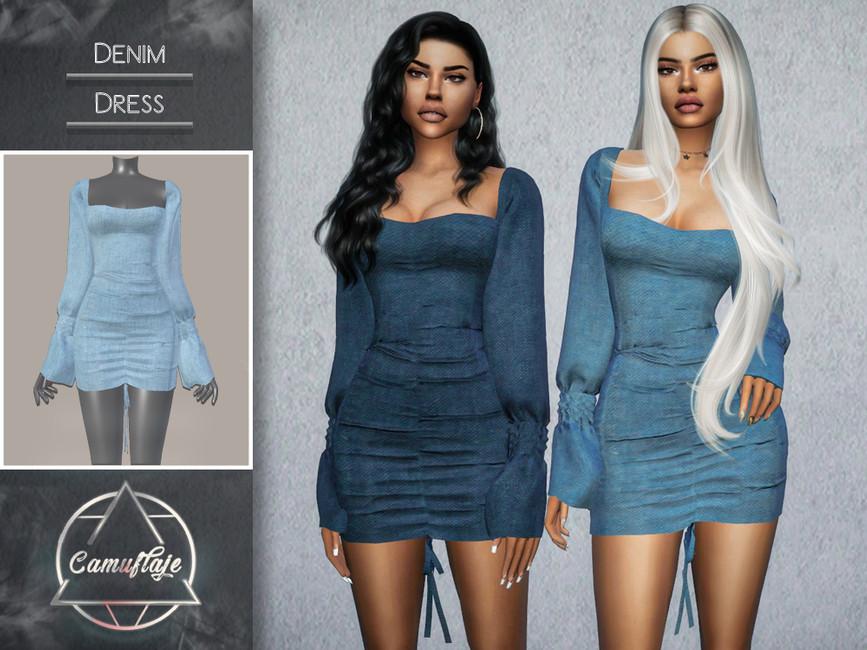 Платье Denim (Dress) Симс 4