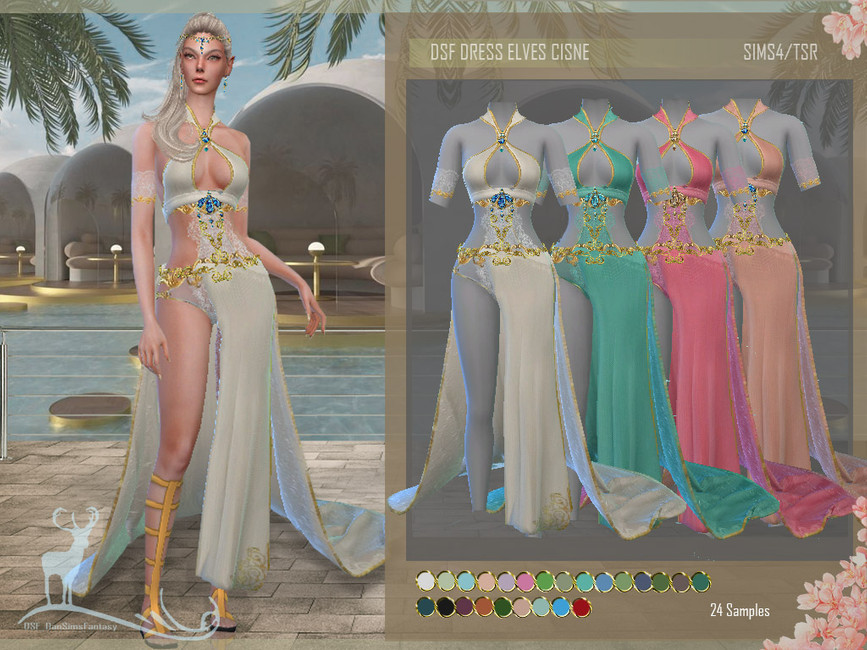 Платье DSF DRESS ELVES CISNE Симс 4