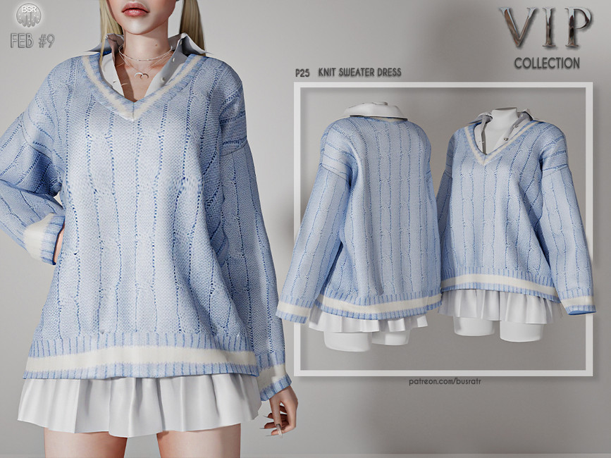 Платье Knit Sweater Dress P25 Симс 4