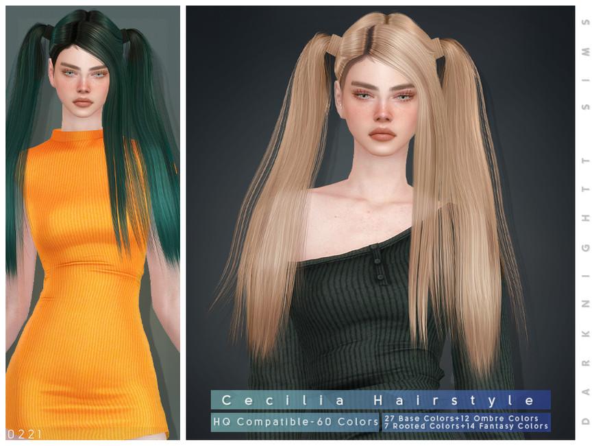Прическа Cecilia Hairstyle Симс 4