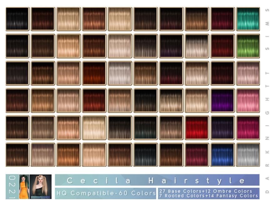 Прическа Cecilia Hairstyle Симс 4 (картинка 2)
