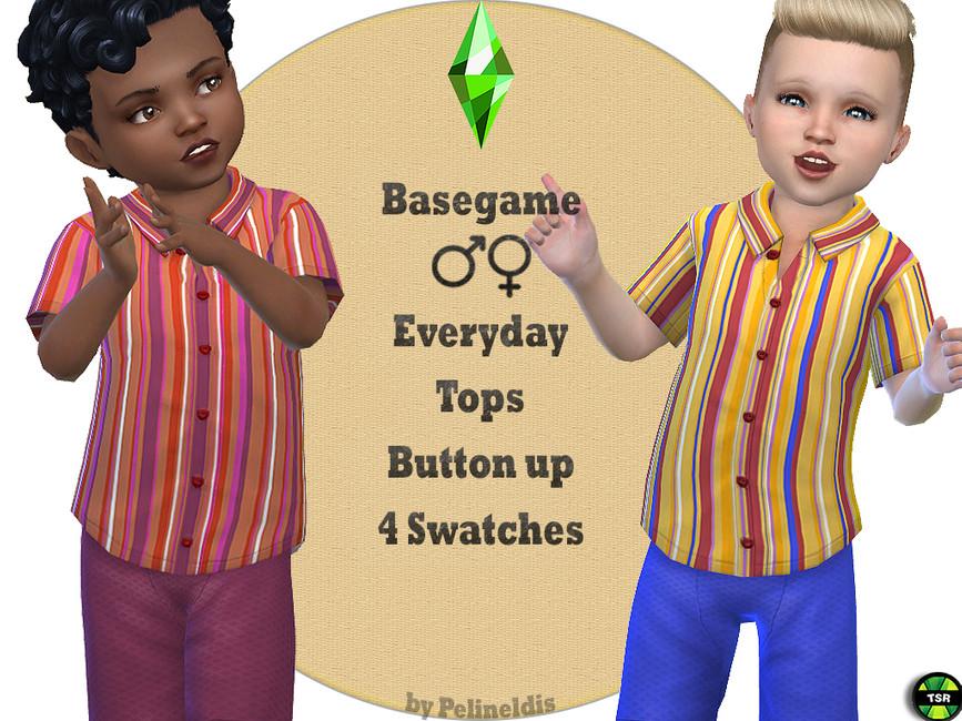 Рубашка для детей Striped Shirt Симс 4 (картинка 2)