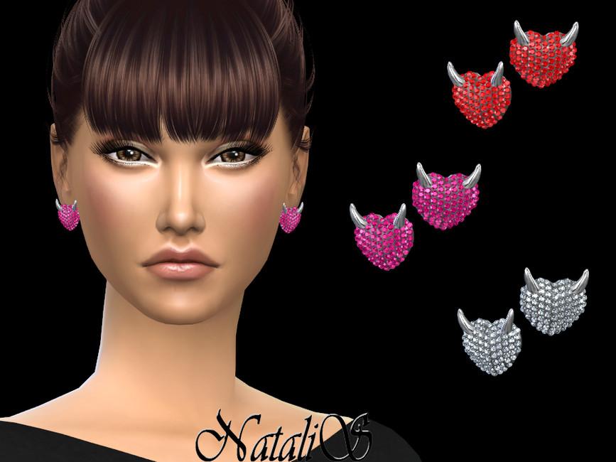 Сережки Evil Heart Stud Earrings Симс 4