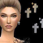 Серьги Diamond Pave Cross Earrings Симс 4