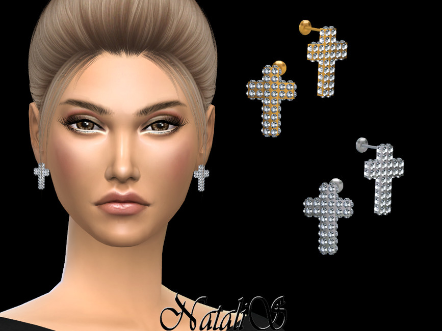 Серьги Diamond Pave Cross Earrings Симс 4