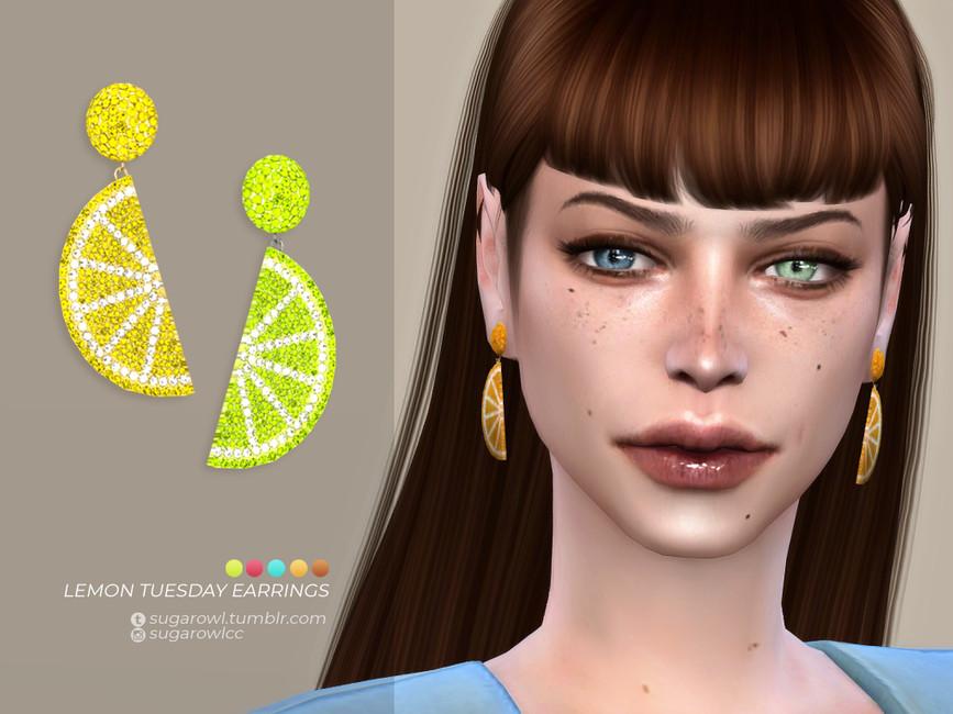 Серьги Lemon Tuesday Earrings Симс 4