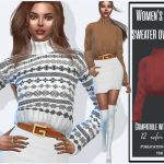 Свитер Women's Short Sweater Oversized Симс 4