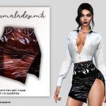 Юбка Side Split Vinyl Mini Skirt MC133 Симс 4