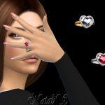 Женское кольцо Heart Shape Halo Ring Симс 4