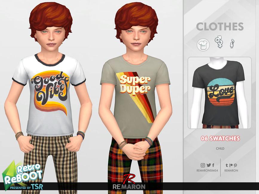 Футболка для детей Retro ReBOOT 70s Shirt for Child 01 Симс 4