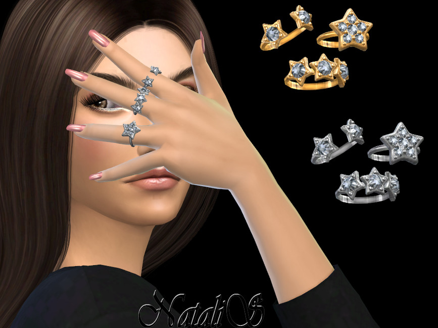 Кольца Diamond Star Ring Set Симс 4