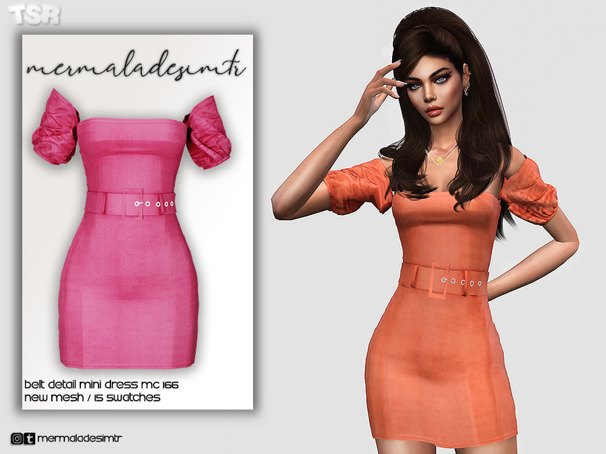 Мини платье Belt Detail Mini Dress MC166 Симс 4