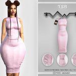 Облегающее платье Bodycon Midi Dress BD440 Симс 4