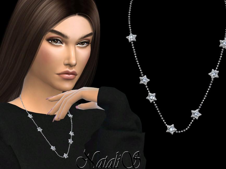 Ожерелье Diamond Star Chain Necklace Симс 4