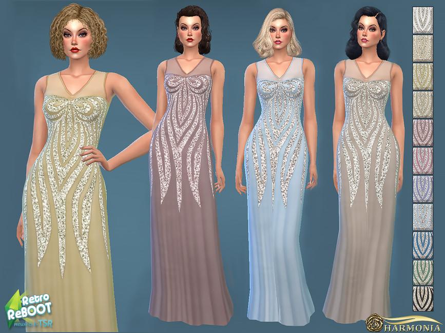 Платье 1930s Sequined Maxi Dress Симс 4