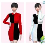Платье 60s Block Dress Симс 4