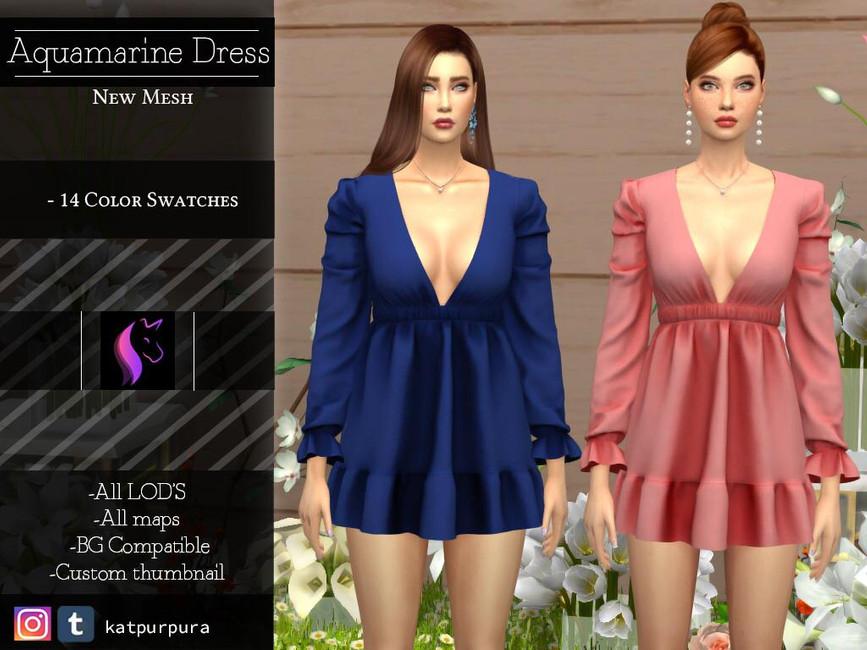 Платье Aguamarine Dress Симс 4