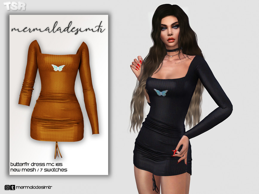 Платье Butterfly Dress MC165 Симс 4