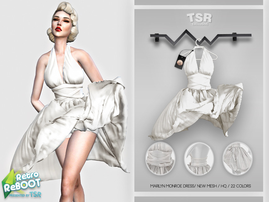 Платье Marilyn Monroe Dress BD443 Симс 4