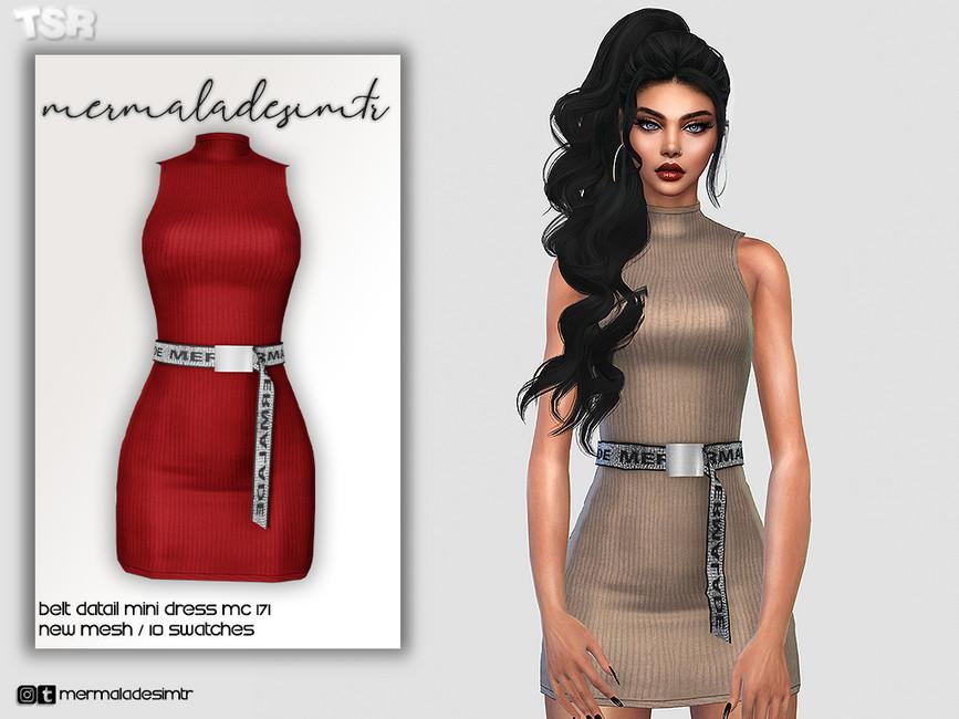 Платье с поясом Симс 4