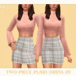 Платье Two-Piece Plaid Dress 05 Симс 4