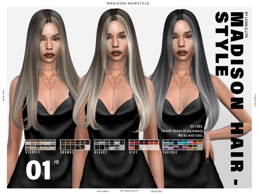 Прическа Madison Hairstyle Симс 4