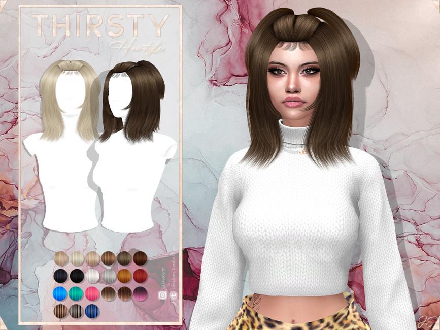 Прическа Thirsty (Hairstyle) Симс 4