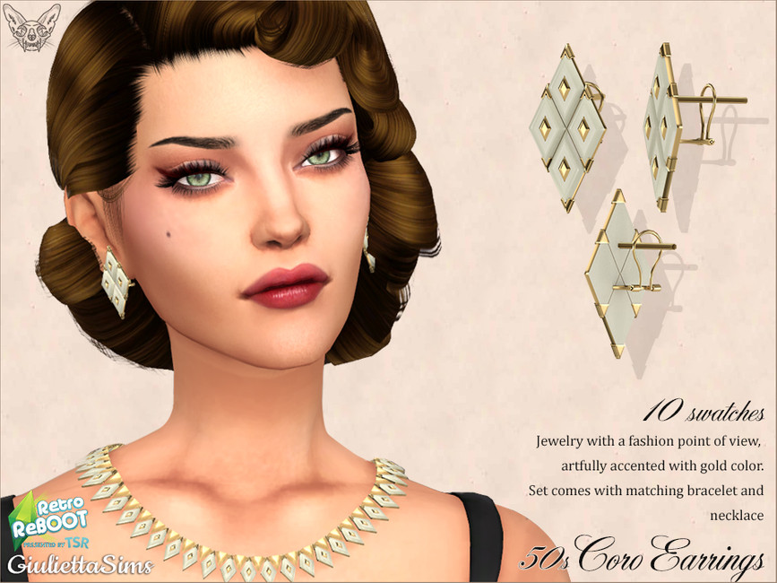 Серьги Coro Lucite Earrings 50s Симс 4
