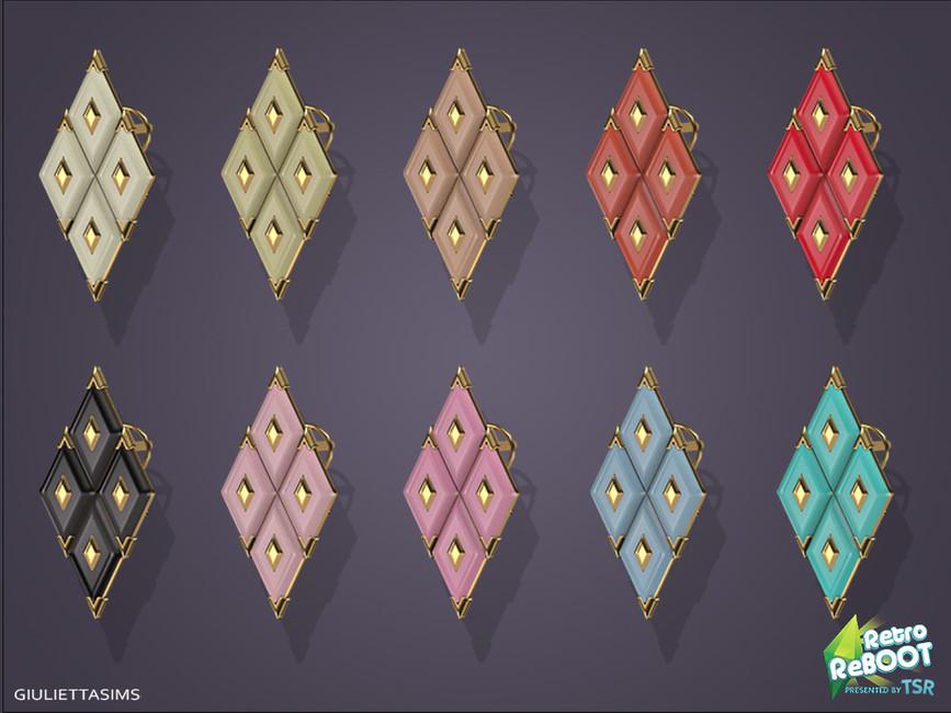 Серьги Coro Lucite Earrings 50s Симс 4 (картинка 2)