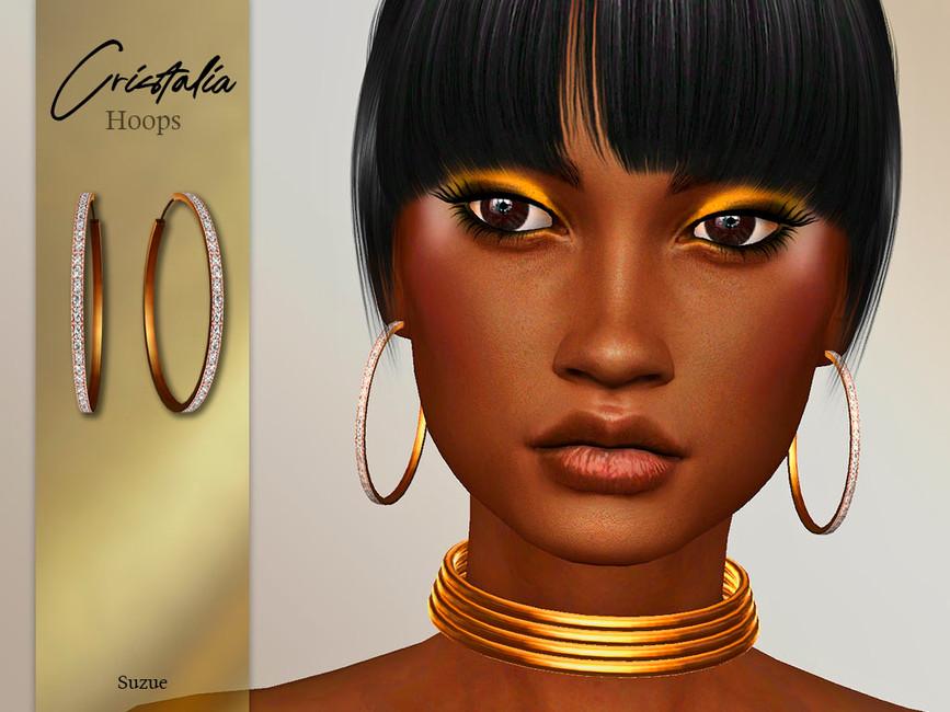 Серьги Cristalia Hoops Earrings Симс 4