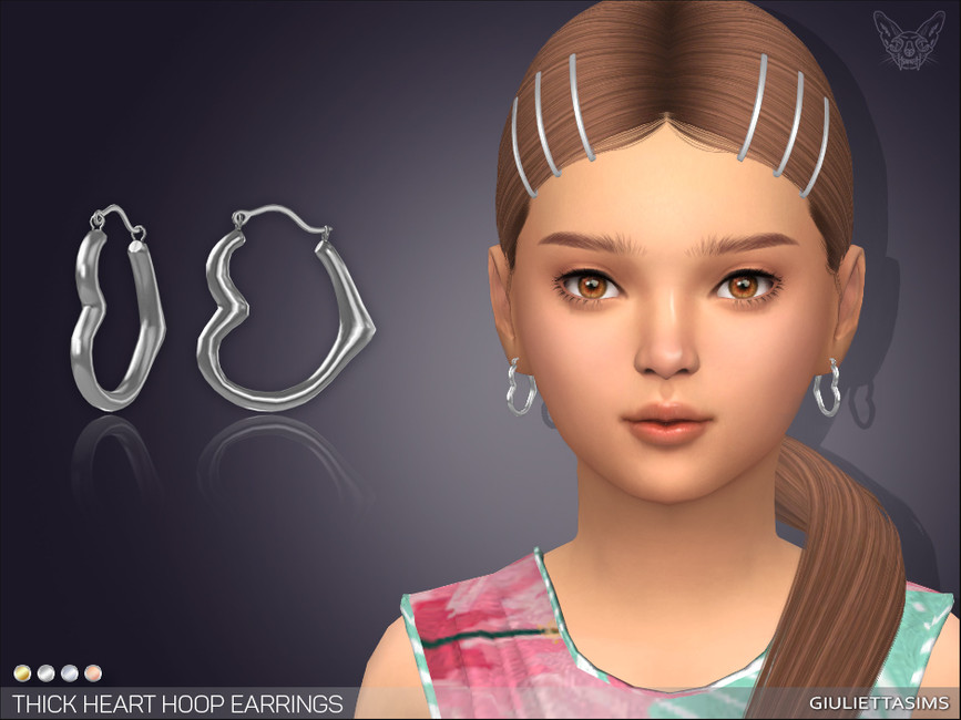 Серьги для детей Thick Heart Hoop Earrings For Kids Симс 4