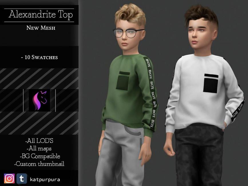 Свитер для детей Alexandrite Top Симс 4
