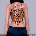 Татуировка на спине Tattoo Tiger Симс 4