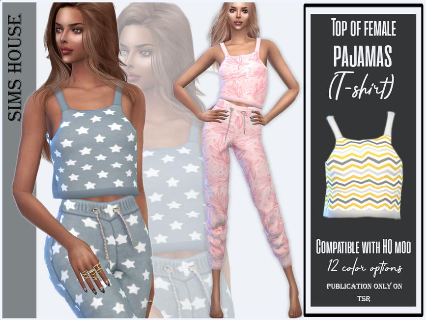 Женский топ Top Of Female Pajamas (T-shirt) Симс 4