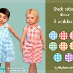 Детское платье Check Cotton Dress Симс 4