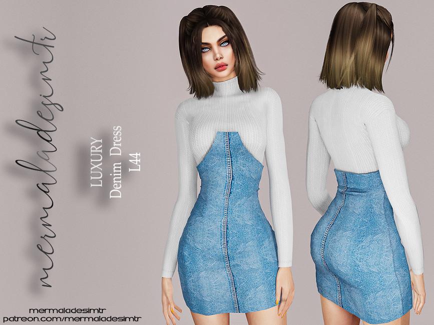 Джинсовое платье Симс 4