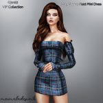 Мини платье Long Sleeve Plaid Mini Dress Симс 4