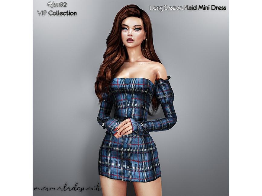 Мини платье Long Sleeve Plaid Mini Dress Симс 4