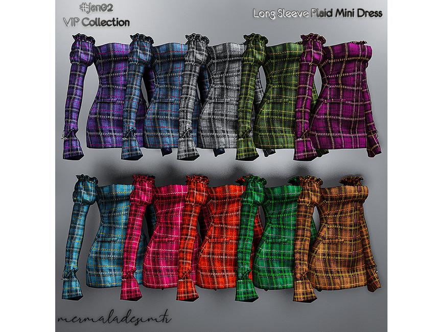 Мини платье Long Sleeve Plaid Mini Dress Симс 4 (картинка 2)