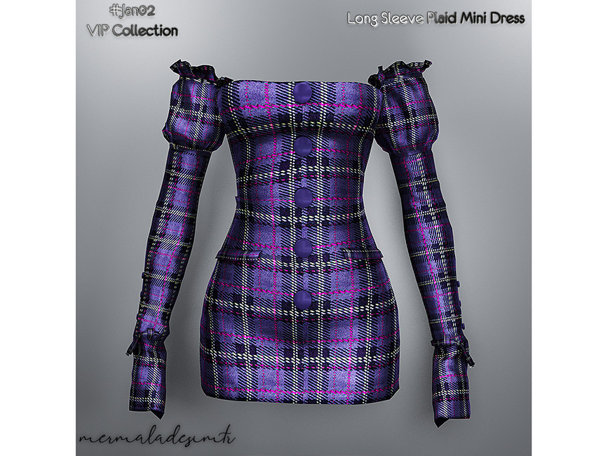 Мини платье Long Sleeve Plaid Mini Dress Симс 4 (картинка 3)